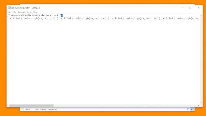 Paleta de documentos CSS del código GIMP