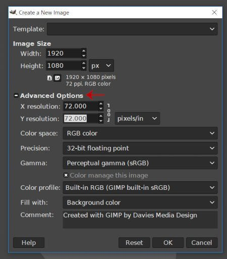 New Image Advanced Options for Resize Layer GIMP Tutorial
