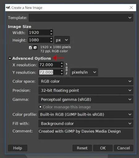 Ny bild Avancerade alternativ för Ändra storlek GIMP-handledning