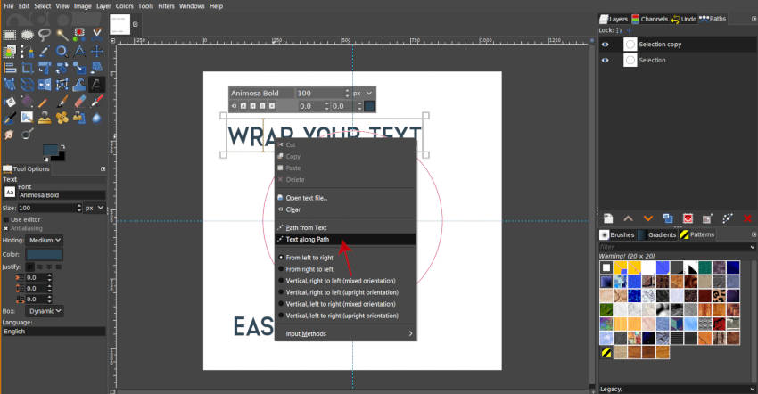 Add Text to Path to Wrap Text in a Circle in GIMP 2 10 10