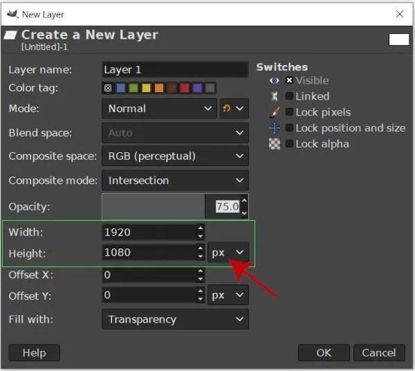 Ajustar el ancho y el alto de la imagen Creando una nueva capa GIMP