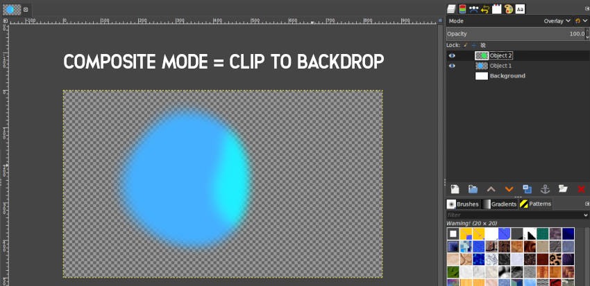 Clip to Backdrop kompozīta režīms GIMP 2 10