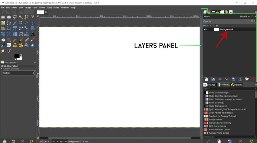 Layers Panel and Background Layer