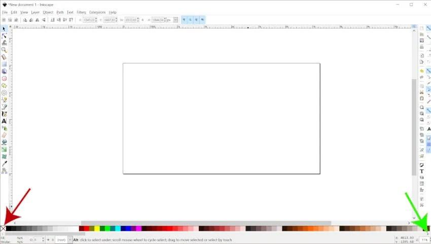 لون لوحة الألوان شريط إنكسكيب أوضح