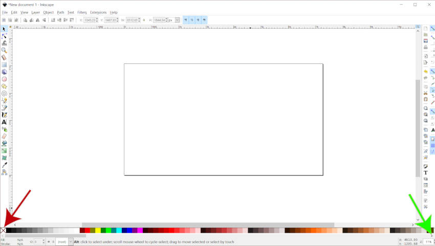 Värvipaletiriba Inkscape värvid selgitatud