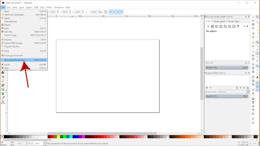 Meniul Proprietăți Document Tutorial Inkscape