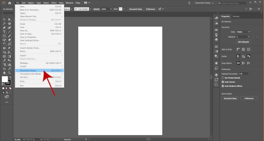 Option for dokumentopsætning Adobe Illustrator Artboard