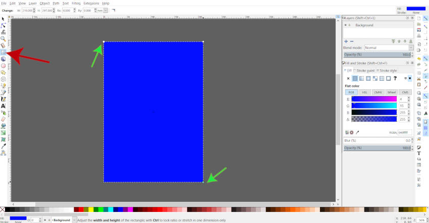 Dessiner un rectangle dans Inkscape