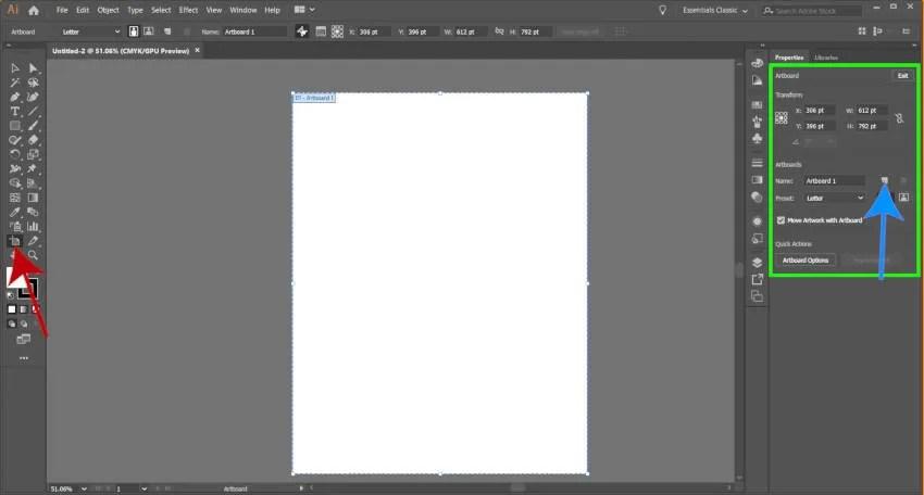 تحرير Adobe Illustrator Artboard