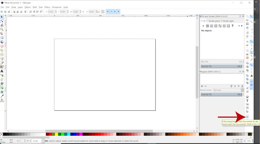 Editar propriedades do documento no Inkscape