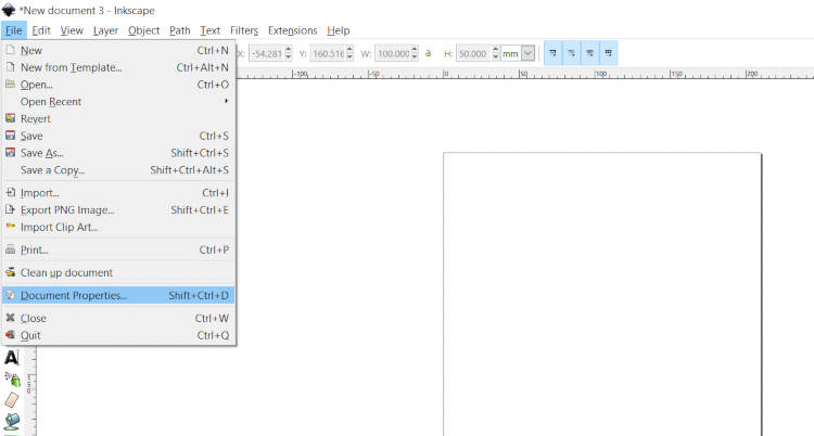 Inkscape Canvas-handledning i File Document Properties