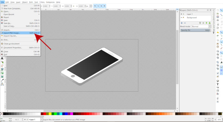 Arquivo Exportar PNG Image Inkscape Tutorial