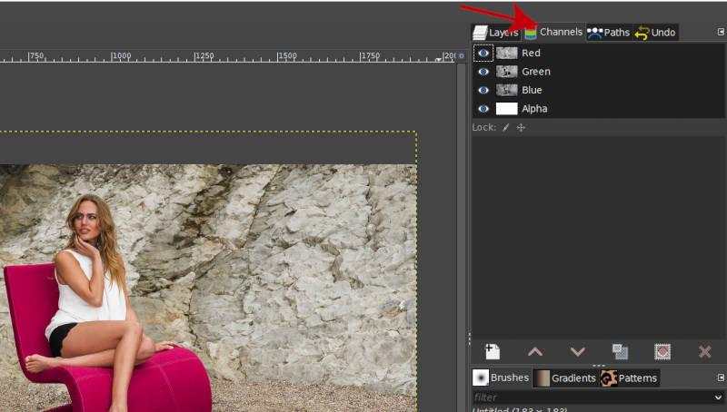 GIMP-kanaler dialog
