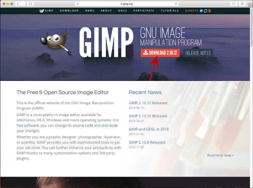 Uradna domača stran GIMP spletne strani