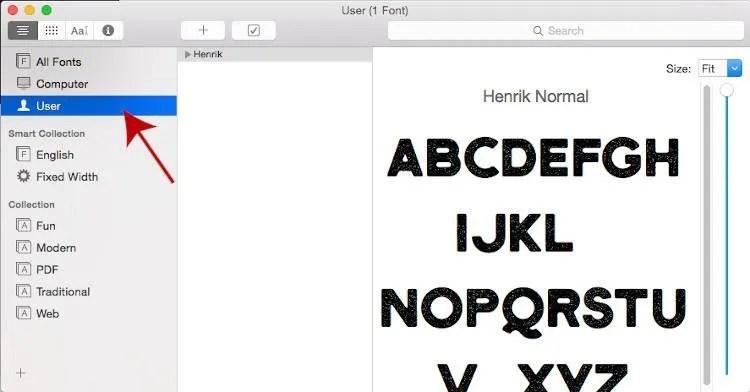Uporabnik GIMP je namestil pisave v knjigi pisave MAC