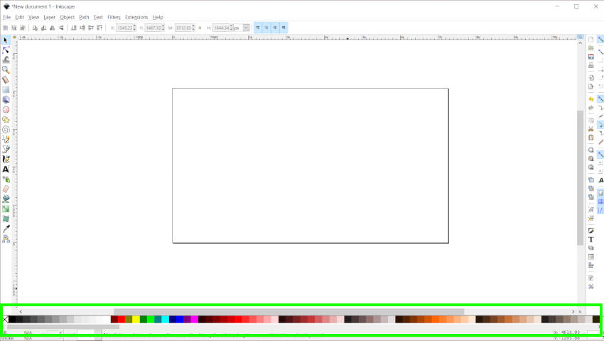 Inkscape krāsu paletes josla