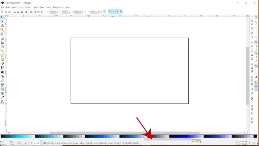 Функция за превъртане на лентата за цветна палитра Inkscape