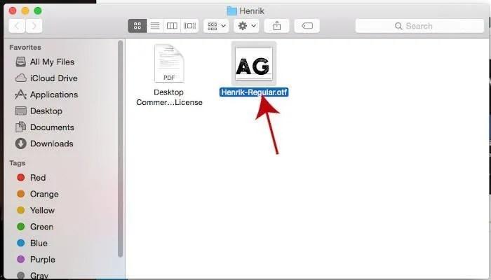 Otevřete soubor písem ze složky písem na MAC
