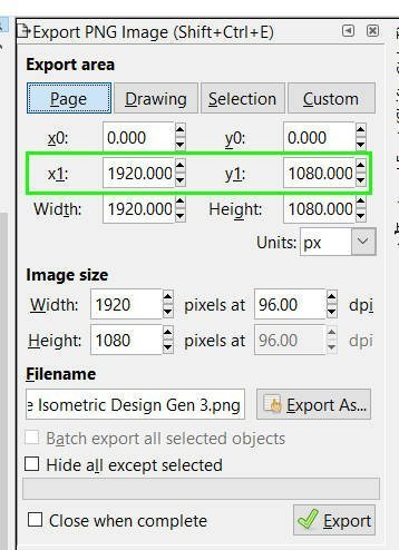 x1 an y1 Inkscape export png-Biller