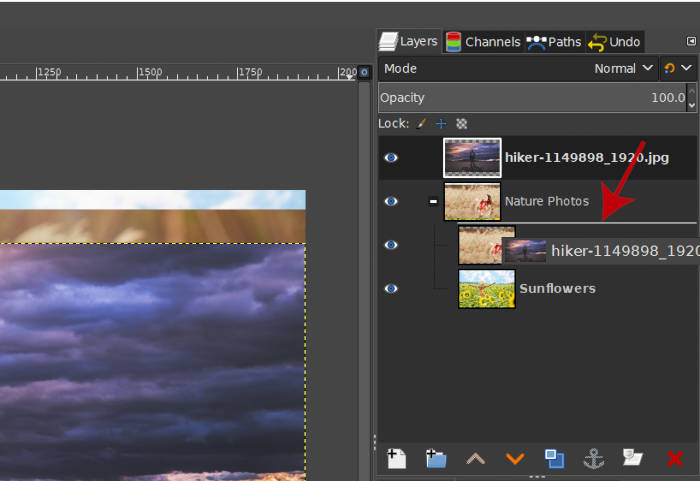 Dragging a Layer Inside a Layer Group in GIMP
