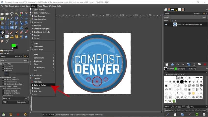 GIMP Tutorial för färg till alfaverktyg