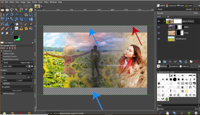 Masking Out Areas with GIMP Layer Group Mask