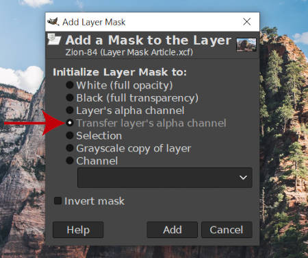 Přenos vrstev Alfa Channel Mask Layer Mask GIMP