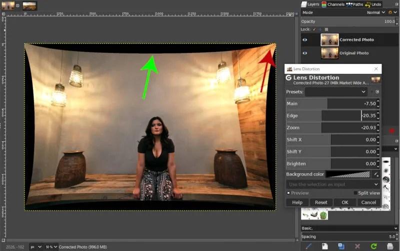 GIMP Pincushion Distortion with Zoom Slider