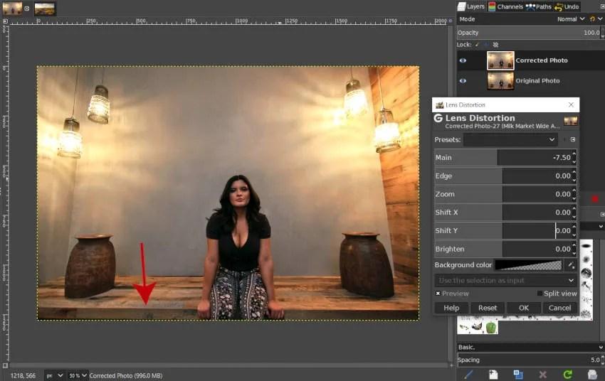 Lens Correction Applied GIMP Tutorial