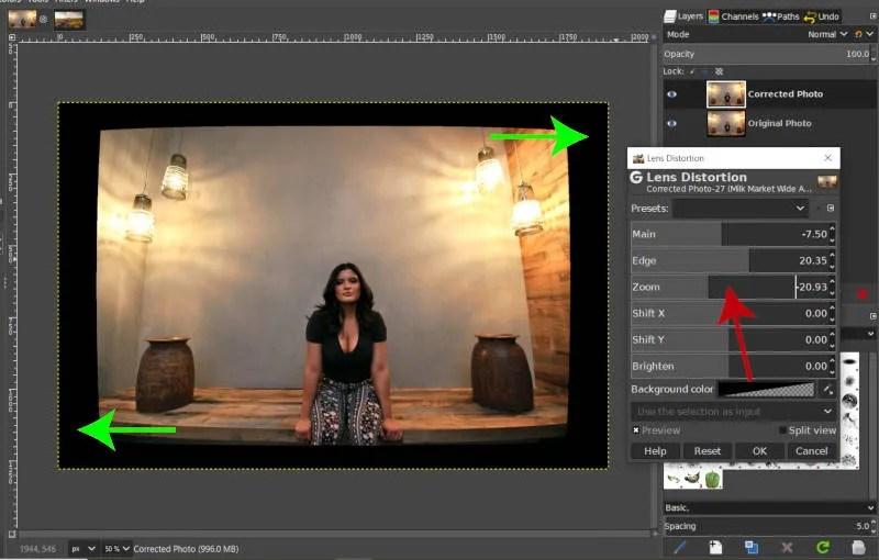 Negative Zoom for Lens Distortion Filter GIMP