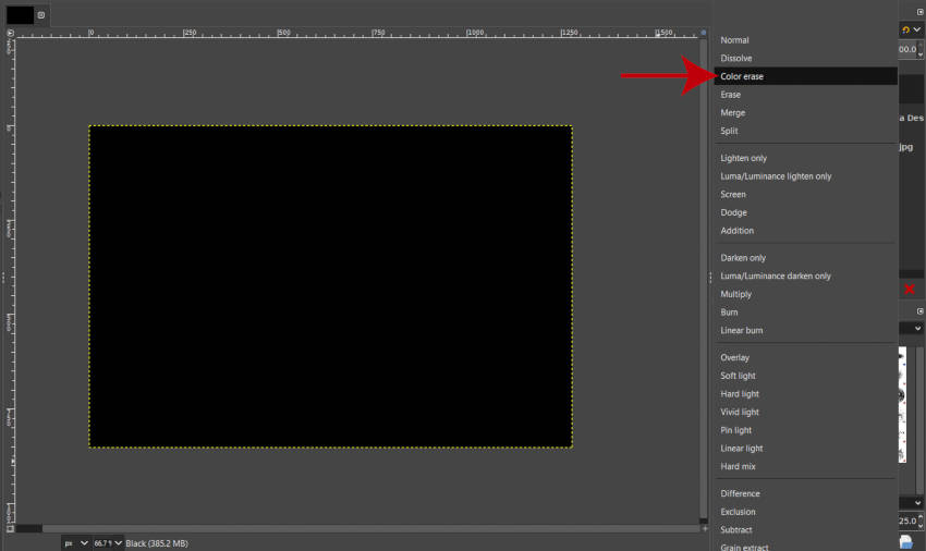 Color Erase Layer Mode on Rain Overlay GIMP