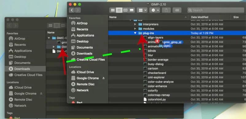 GMIC प्लगइन फाइल को GIMP प्लग-इन फ़ोल्डर में खींचें