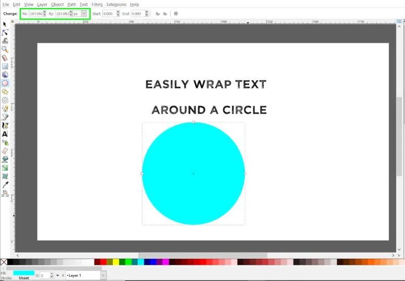 Rita en cirkel med Ellipse Tool Inkscape
