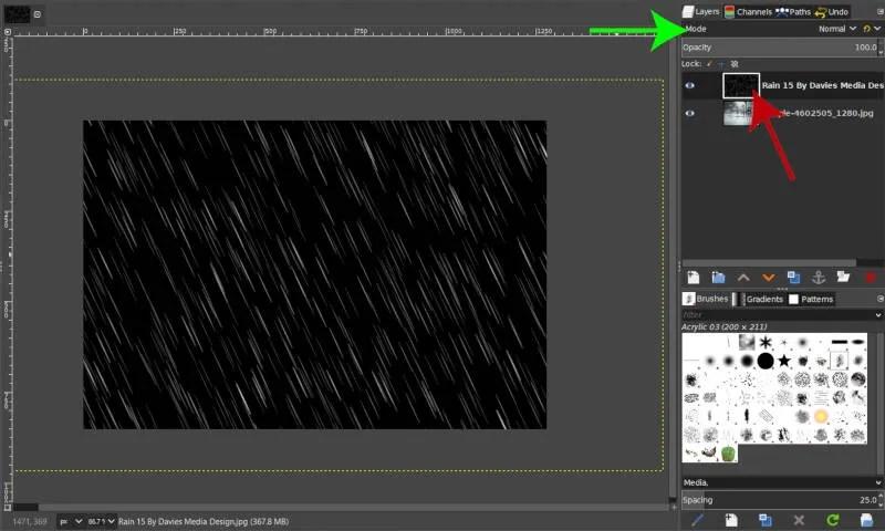 Brezplačna slika prekrivanja dežja, uvožena kot plast v GIMP