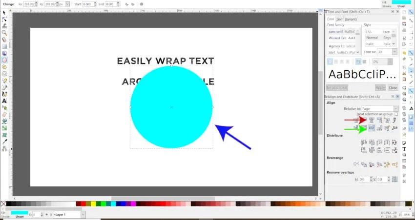 Justera objekt horisontellt och vertikalt i Inkscape