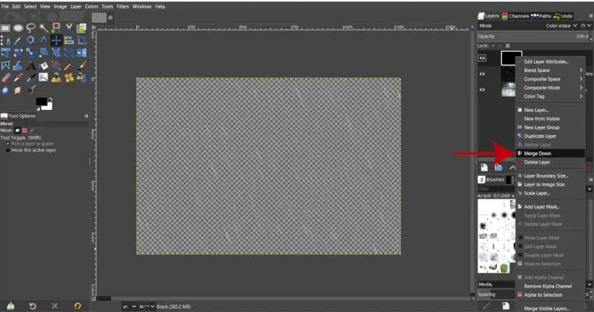 Merge Black with Rain Image Layer GIMP tutorial