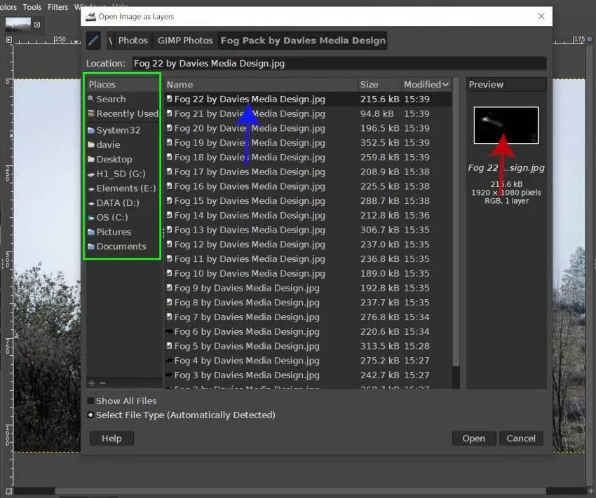 Открыть изображение как диалоги слоев GIMP Fog Pack