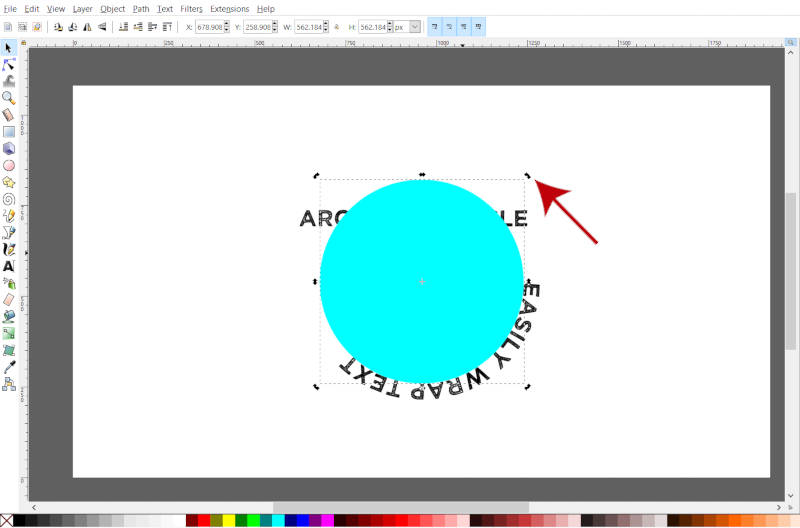 Rotate Circle in Inkscape Using Transform Handles