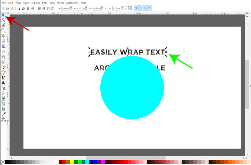 Circle Inkscape로 줄 바꿈 할 텍스트를 선택합니다