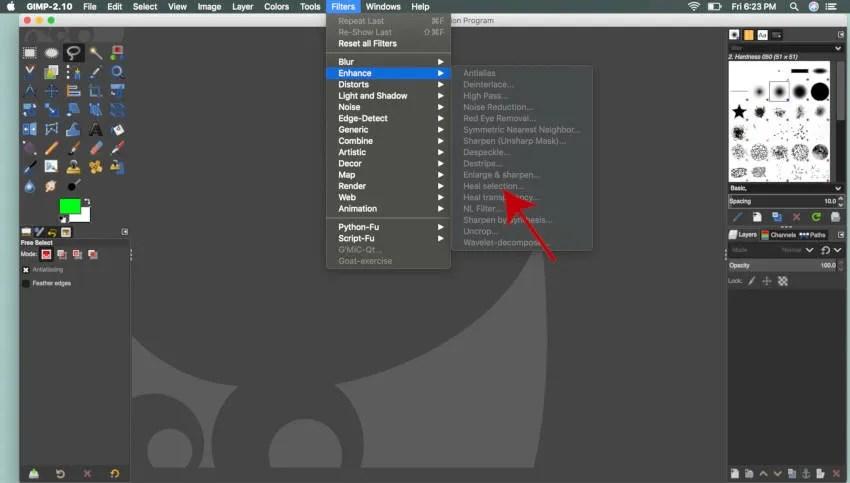 Filtry Ulepsz wybór leczenia GIMP dla MAC