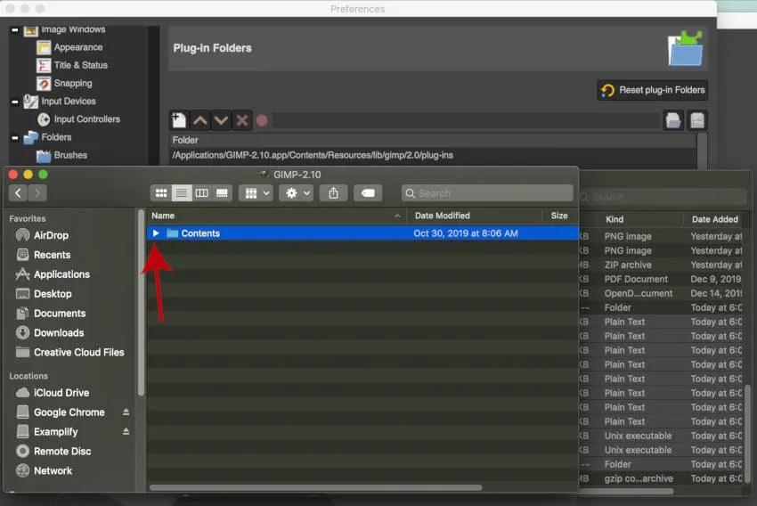 Приложение GIMP для папки с содержимым MAC