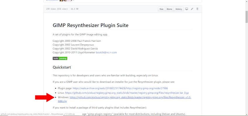 File Leggimi del plugin GIMP Resynthesizer
