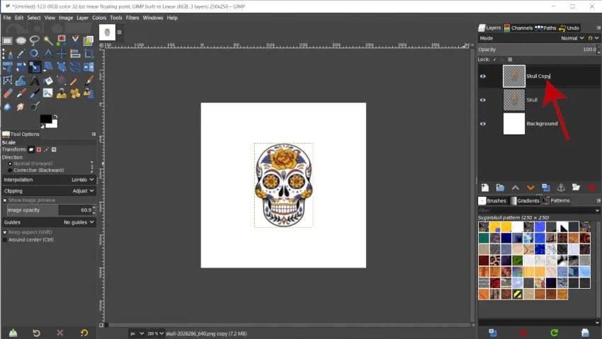 Tutorial de cambio de nombre de capa GIMP Custom Pattern