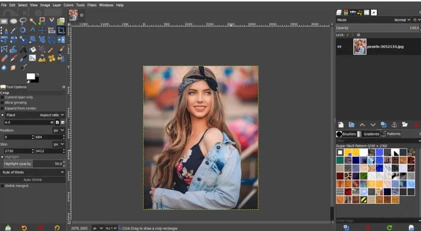 Recadrage d'image appliqué Instagram Split dans le tutoriel GIMP