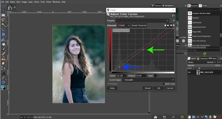 GIMP कर्व ट्यूटोरियल में नोड्स जोड़ें