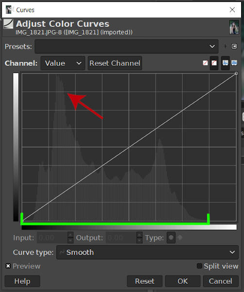 Skewed Histogram GIMP 2020 Curves Tool