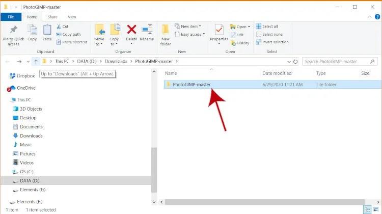 PhotoGIMP für Windows Extrahierte Datei für GIMP