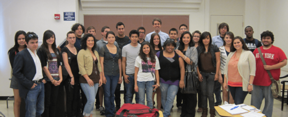 Photo of Davi and her class with former congressman, Beto O'Rourke. They are all smiling at there camera.