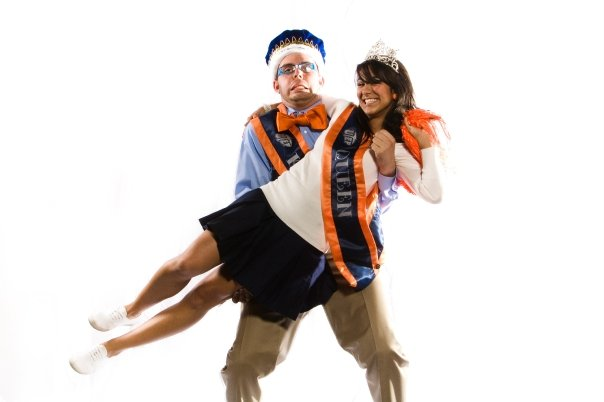 Photo of the UTEP homecoming King and Queen. They are looking at the camera and smiling.