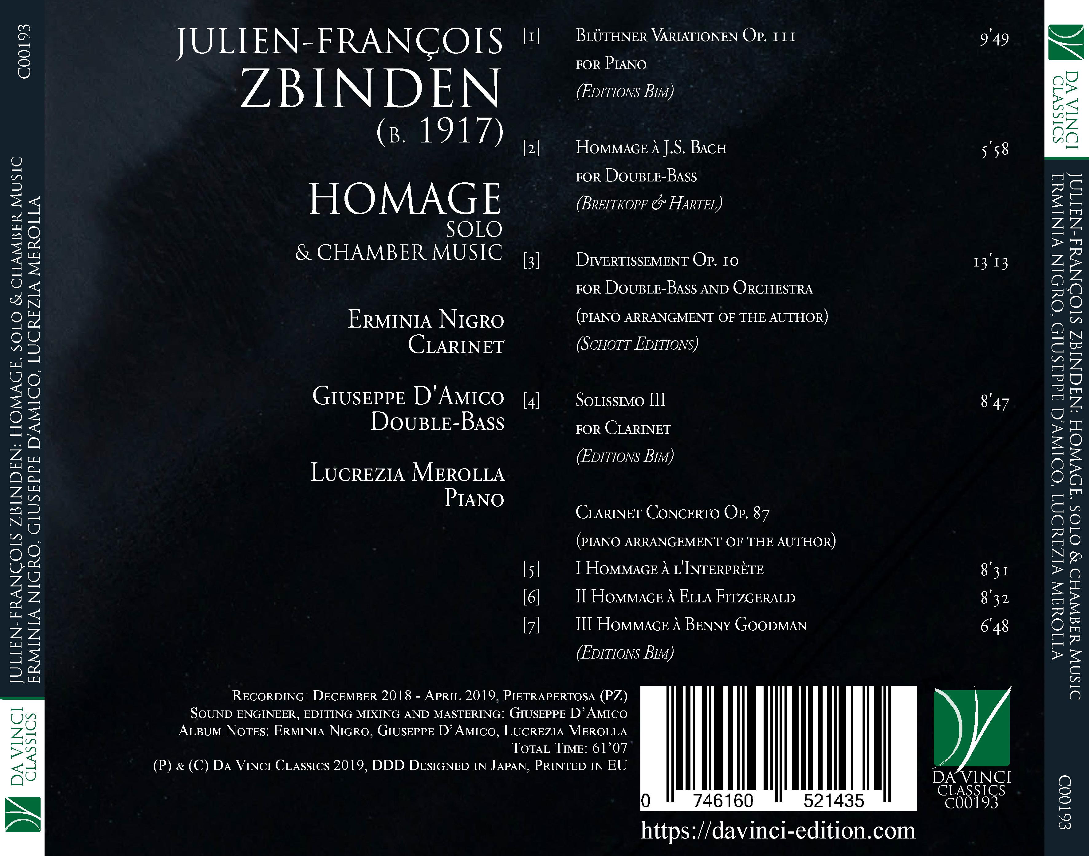 Julien-François Zbinden: Homage